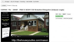 Craigslist Chicago Home For Sale on Mason